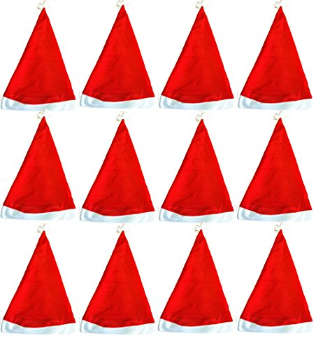 1 Dozen- Economy Santa Hats-Adult size-ONE SIZE FITS ALL, Style May Vary -