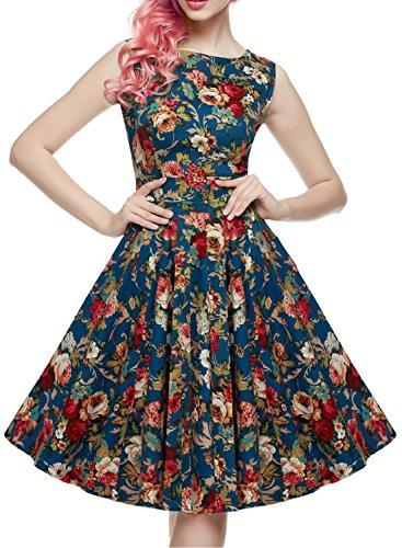 OTEN Damen 50er Retro vintage Kleid Audrey Hepburn Rockabilly Swing Partykleid CocktailKleider