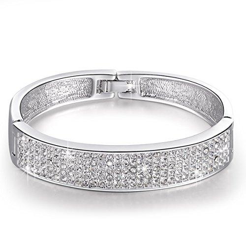 Swarovski Crystal Bangle (Christmas Gift, Princess Snow Crystal Pave Bangle Bracelet, Thanksgiving day gift, ideal christmas gifts for)