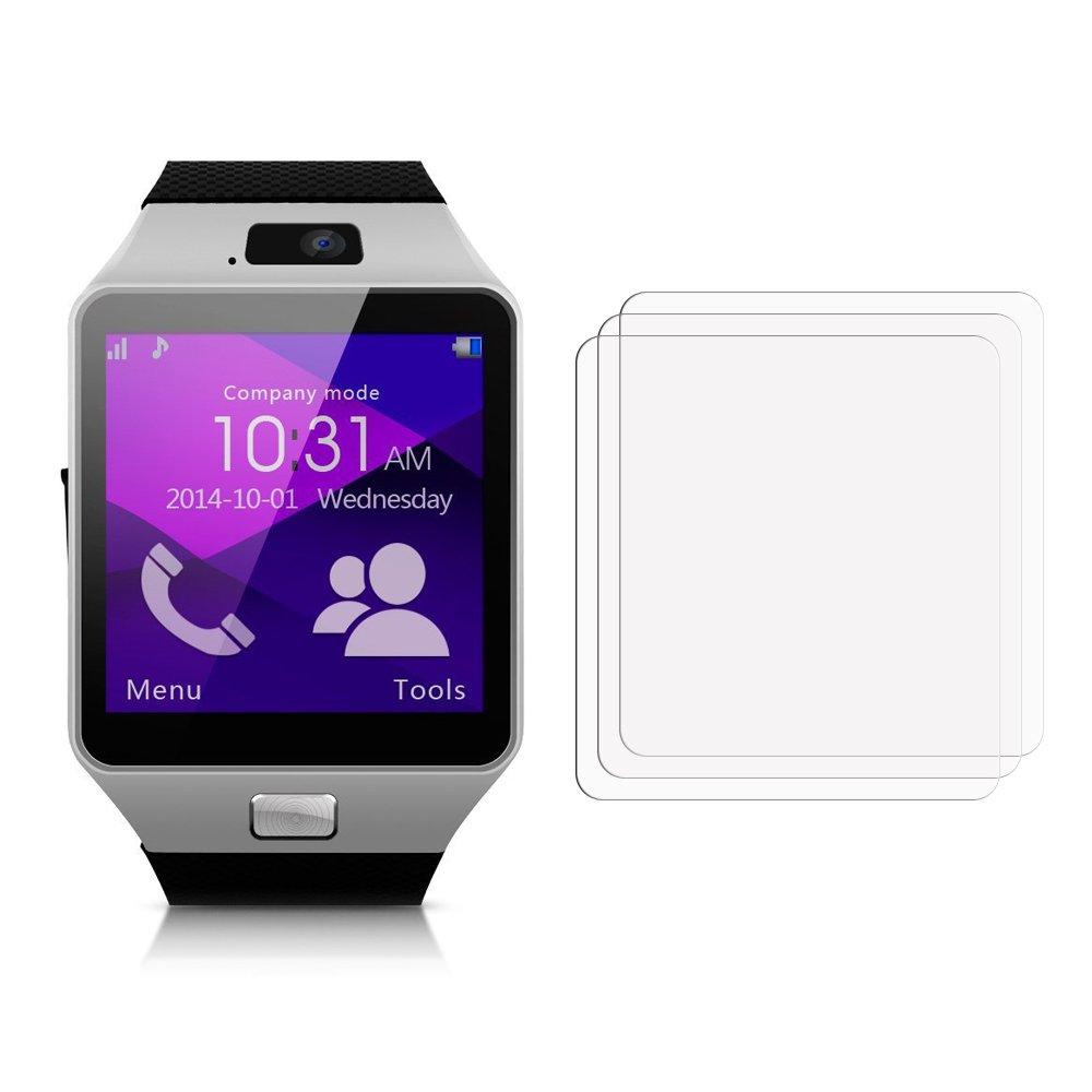 Membrane 3 x Protector de Pantalla compatibles con Gearmax Smartwatch DZ09 - Ultra Transparente