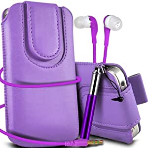 Nokia Lumia 610 Premium Protective PU Leather Magnetic Button Pull Tab Cord Slip In Pouch Pocket Skin Cover Quick Release Case , Retractable Stylus Pen & Matching 3.5MM Earbuds Earphones Headphones Purple by Spyrox