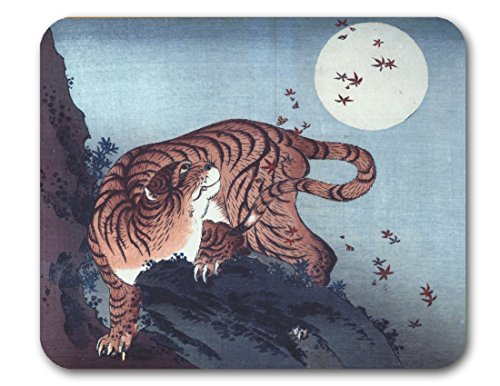 Hokusai, Japanese Woodcut Mouse Pads (Tiger and Moon) (Lithograph Tigers)