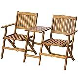 vidaXL Patio Solid Acacia Wooden Folding Bench with Table Garden Balcony 2 Seats