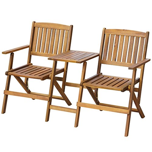 vidaXL Patio Solid Acacia Wooden Folding Bench with Table Garden Balcony 2 Seats by vidaXL