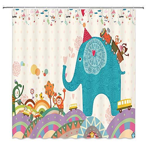 BOYIAN Elephant Shower Curtain Decor Circus Elephant Tree Car Train Cartoon Fairy Fabric Bath Curtains Bathroom Accessories Waterproof Polyester with Plastic Hooks 70x70 Inch