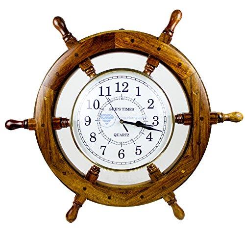 Nagina International Time's Wall Clock | Nautical Pirate's Ship Wheel | Premium Craft Gift (24 - Clock Pirates Metal