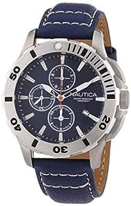 Nautica A18642G - Reloj cronógrafo de cuarzo para hombre, correa de cuero color azul