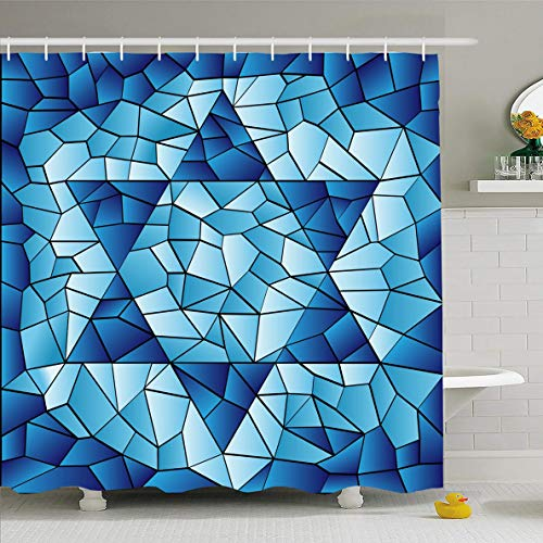 (Ahawoso Shower Curtain 72x72 Inches Blue Hanukkah Six Pointed Star Stained Chanukah Jewish David Passover Glass Window Pattern Design Waterproof Polyester Fabric Bathroom Curtains Set with Hooks)