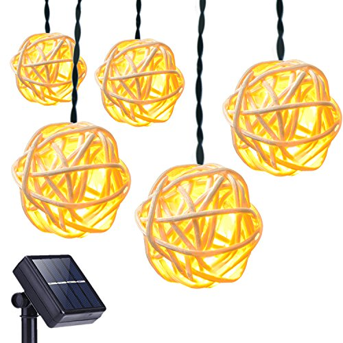 DecorNova Solar String Lights, 20 Feet 30 LED Rattan Ball Fairy Lights with Waterproof Solar Panel & 2 Lighting Modes for Outdoor Patio Lawn Garden Christmas Party Decorations, Warm White