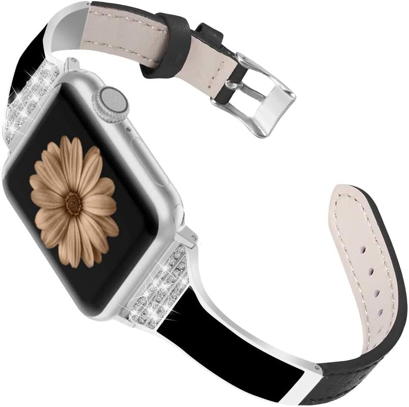 SEARME TREND Compatible with Apple Watch Bands 38mm 40mm 42mm 44mm Women Men, Slim Leather Bling Diamond Rhinestone Jewelry Strap for iwatch Series SE 6/5/4/3/2/1, 38mm 40mm Black+Silver Adapter
