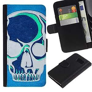 Billetera de Cuero Caso Titular de la tarjeta Carcasa Funda para Samsung Galaxy S6 SM-G920 / Teal Blue Artistic Skull Grey Art Graffiti / STRONG