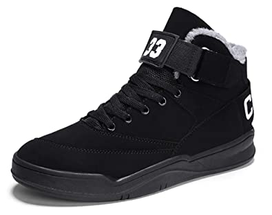 00cf706f5b47bd MUOU Sneaker Herren Schuhe Mode High Top Herren Freizeitschuhe  Atmungsaktive Leder Männer Turnschuhe Schwarz (39