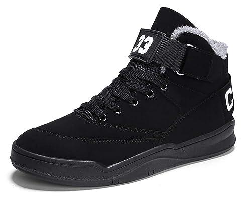 MUOU Sneaker Herren Schuhe Mode High Top Herren Freizeitschuhe Atmungsaktive Leder Männer Turnschuhe Schwarz