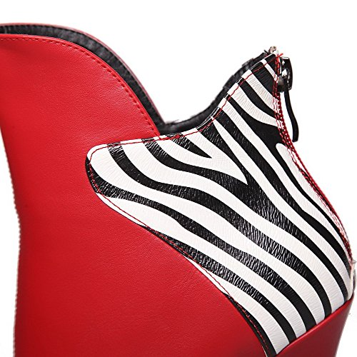 High Blend Toe Closed Women's Low Allhqfashion Red Heels Materials Top Boots gXT7xq
