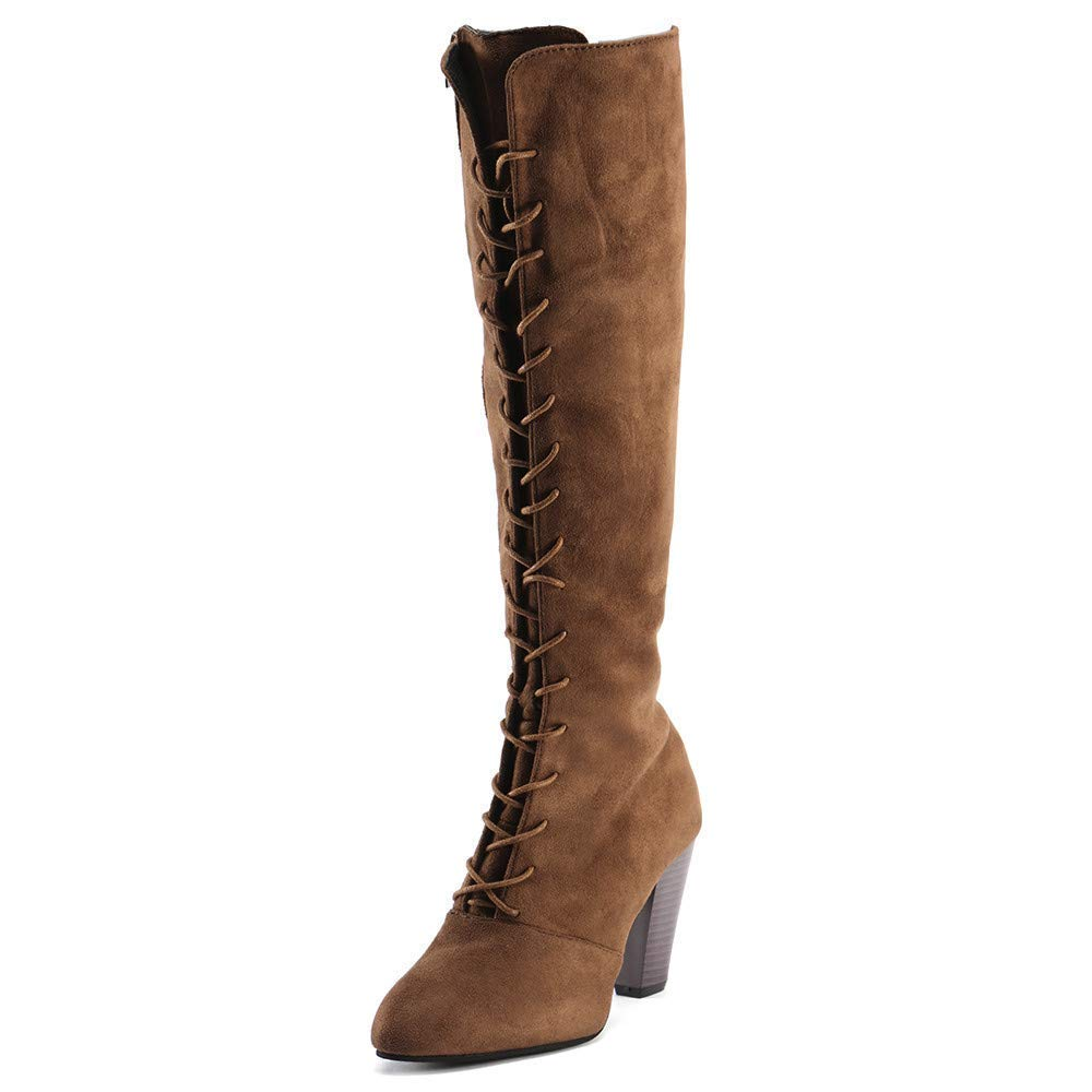 Oudan Stiefel Damen Damen Damen Schuhe Stiefeletten Mode Frauen Straps Slim Zip Hohe Stiefel Overknee Stiefel High Heels Martin Schuhe (Farbe   Braun, Größe   37 EU) 4780c4