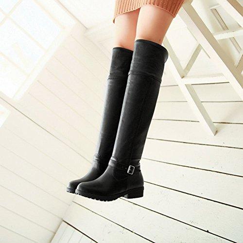 Carolbar Womens Buckle Fashion Simple Casual Comfort Low Heel Tall Boots Black wwAm0