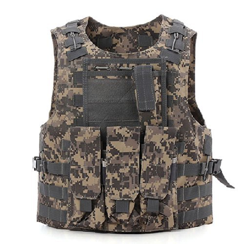 Dlp Tactical Marinus Cable Releasable Molle Vest With Three Pouches  Acu