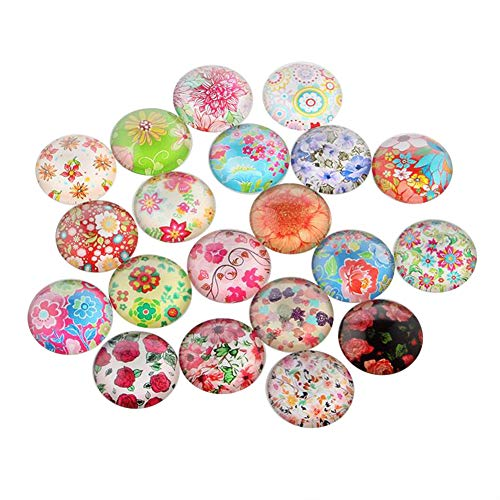 ARRICRAFT 200pcs Multicolored Half Round/Dome Floral Printed Glass Cabochons for Jewelry Making, 10x4mm