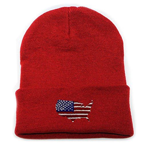 City Hunter Sk901 Usa Map Basic Ski Winter Beanie Hats 15 Colors ()