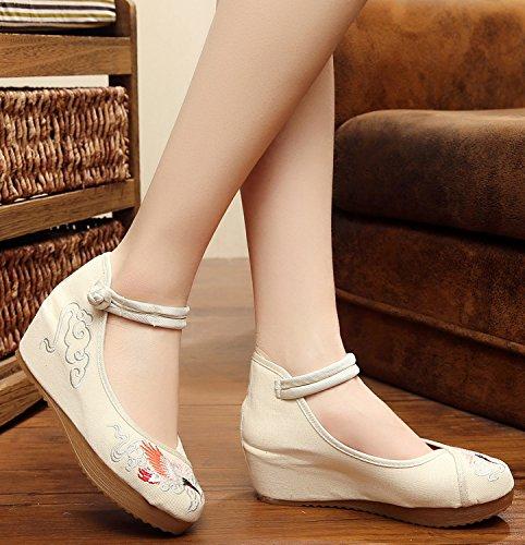 Icegrey Zapatos Hechos A Mano De La Grúa Bordada De La Cuña De Las Mujeres De Las Bailarinas Beige