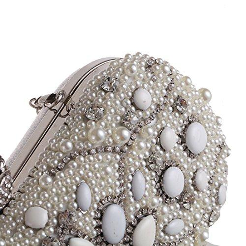 Color Perlas Silver JESSIEKERVIN Bolso de Boda Embrague Bolso con de Bolso de Bolsa Bolso Silver Cuentas de de Noche Fiesta qTwBwEC