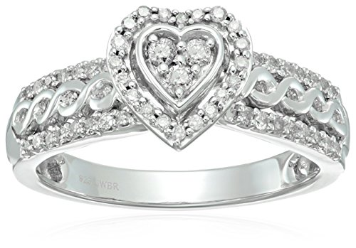 Sterling Silver Diamond Heart Shape Bridal Ring (1/2 cttw)