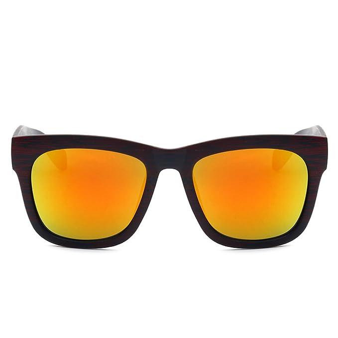GAOQIANG Neue Box Trend Holz Korn Sonnenbrille Farbfilm Große Rahmen Sonnenbrille,A1