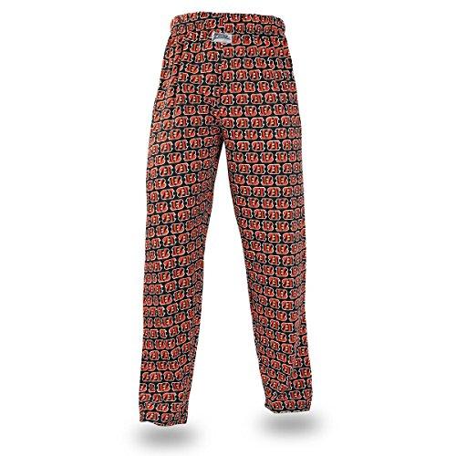 Zubaz NFL Cincinnati Bengals Men's Team Logo Print Comfy Jersey Pants, X-Large, ()