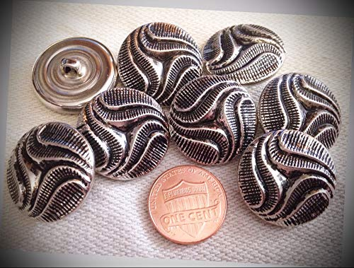(JumpingLight 8 Silver Tone Black Accent Puffed Domed Shank Metal Buttons 7/8'' 22.5mm 7098 Perfect for Crafts, Scrap-Booking, Jewelry, Projects, Quilts)