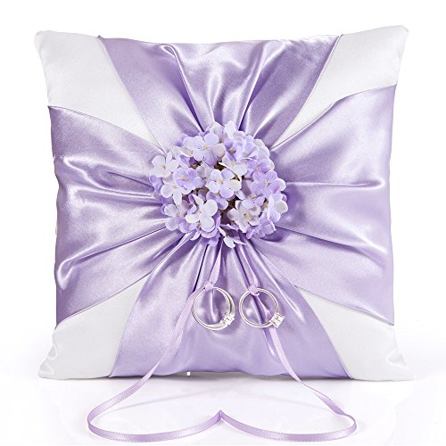 - LONGBLE White Elegant Wedding Ring Bearer Pillow Purple Satin Cross Knot and Lilac Flowers Decoration Ring Cushion with Slim Ribbon 18cm Square (W7)