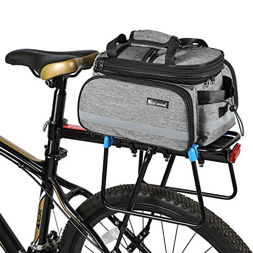 ICOCOPRO Bike Rear Seat Trunk Bag,Multi Function Quick Release Design with Expandable Panniers Bicycle Carrier Rack Bag with Rainproof Cover(3 Color)