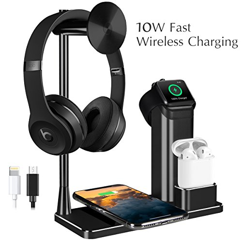 iPhone X 10W Fast Wireless Charger Stand, iPhone 8 Charging Dock Apple Watch AirPods Stations Headphone Holder 4 in 1 Aluminum for Apple Watch Series, AirPods, iPhone X/8/8 Plus, Headphone