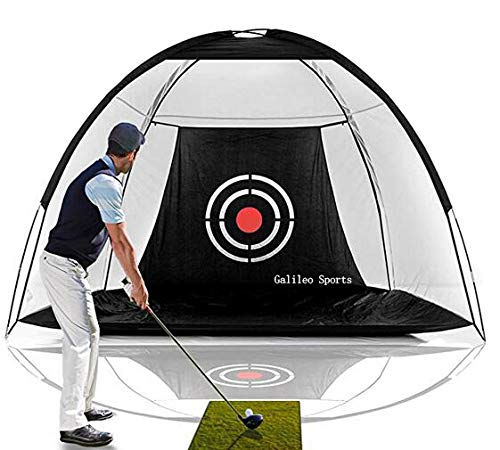 Galileo Golf Net Training Aids Hitting Practice Training Nets for Backyard Driving Range Indoor Use Golf Cage Tent Swing Training Aid with Target 10'x6.5'x6' -