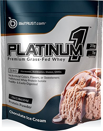 (BioTrust Platinum1 Premium Grass Fed Whey Protein, Ultra-Pure, Ultra-Clean, 100% Hydrolyzed Whey Protein Isolate - Chocolate Ice Cream)