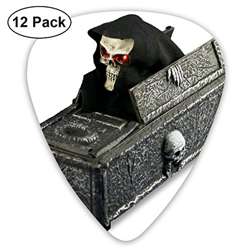 Halloween Gothic Skull Coffins Small Medium Large 0.46 0.73 0.96mm Mini Flex Assortment Plastic Top Classic Rock Electric Acoustic Guitar Pick Accessories Variety Pack -