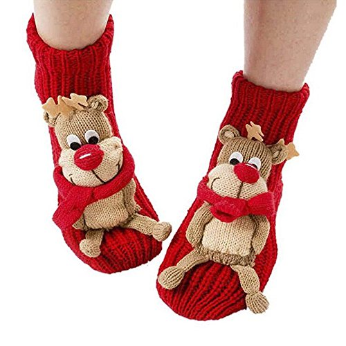 Christmas Winter Indoor Floor Socks 3d Cartoon Animal Non-Skid Household Thick Knit Socks for Women (Red Deer)