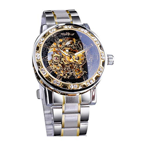 Mechanical Watch Diamond Luxury Classic Skeleton Stainless Steel Waterproof Bracelet Dress Mens Watch (Black, Free size) (Best Guitar Amp Sim 2019)