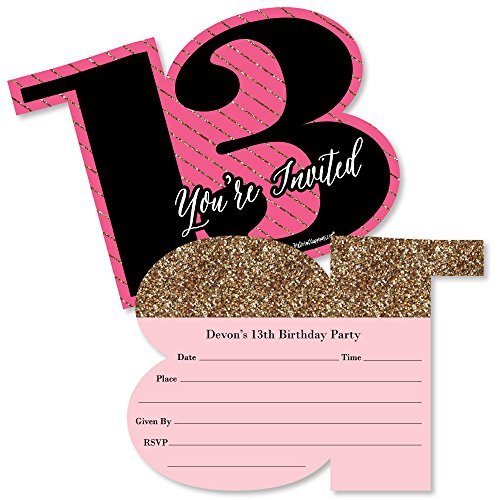 Custom Chic 13th Birthday - Pink, Black and Gold - Personalized Birthday Party Invitations - Fill in Invitation Cards with Envelopes - Set of 12