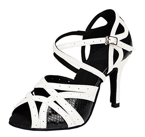 Tda Womens Fashion Sexig Ankelbandet Klippa Ut Pu Läder Öppen Tå Komfort Latin Tango Moderna Dansskor Svart / Vit