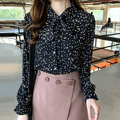Apt 9 Womens Shirts, Causual Summer Tops for Women,Fashion Women Chiffon Flare Sleeve Bow Bandage Print Loose Casual Top Blouse Black by Makeupstory (Image #1)