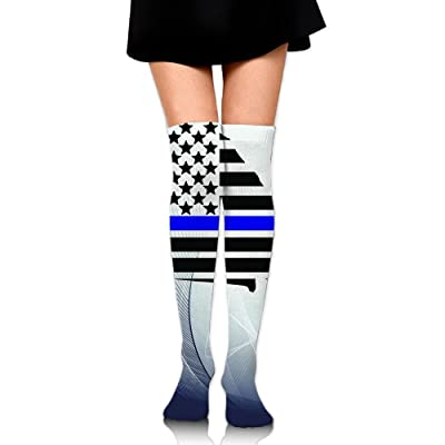 db16cc726b WRE8577 Women s Knee High Sport Long Sock American Flag For Softball Sport  Long Stockings