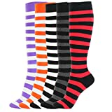 Girl Knee High Socks Soft Cotton Colorful Pattern Design For Women Summer or Winter (C-Color Stripes I-5pair)