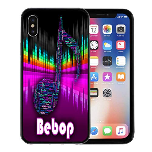 Emvency Phone Case for Apple iPhone Xs Case/iPhone X Case,Acoustic Bebop Music Showing Sound Track and Be Bop Soft Rubber Border Decorative, Black