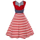 Pervobs Dress, Big Promotion! Women American Flag Elegant Sleeveless Vintage Tea Hepburn Casual Loose Mini Dress Ball Gown (L, Red)