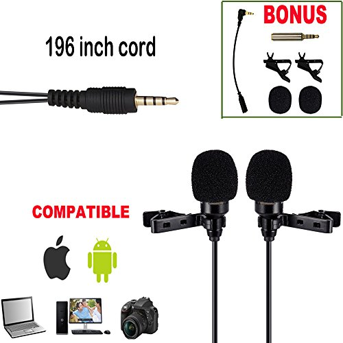 Premium-196-Dual-head-Lavalier-Microphone-Professional-Lapel-Clip-on-Omnidirectional-Condenser-Mic-For-Apple-IPhoneAndroidPCDSLRRecording-YoutubeInterviewVideo-ConferencePodcast-FREE-BONUS
