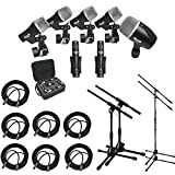 CAD Audio Stage7 Premium 7-Piece Drum Instrument Mic Pack With Vinyl Carrying Case & 7 - 25' XLR Cables + 2 Mic Stands & 2 Kick Stands
