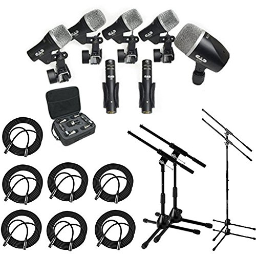 CAD Audio Stage7 Premium 7-Piece Drum Instrument Mic Pack With Vinyl Carrying Case & 7 - 25' XLR Cables + 2 Mic Stands & 2 Kick Stands by CAD Audio