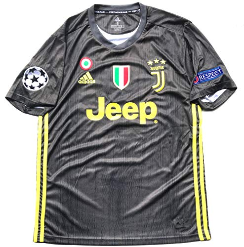 Le Roux Juventus F.C. 2019 Home Soccer Jersey for Men with Ronaldo No. #7 on The Back and All Patches - Logos as Original (Black 2nd Uniform, ()