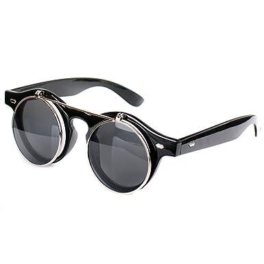 c73da6d56e Chinatera Men s Steampunk Goth Goggles Glasses Retro Flip up Round  Sunglasses Free Size Black