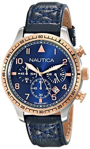 Nautica Men's NAD17500G BFD 105 Chrono Analog Display Japanese Quartz Blue Watch